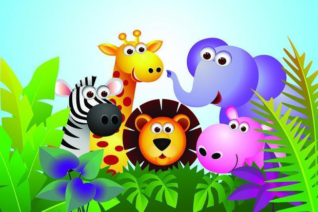 Colorful exotic animals Wall Mural-Kids' Stuff-Eazywallz