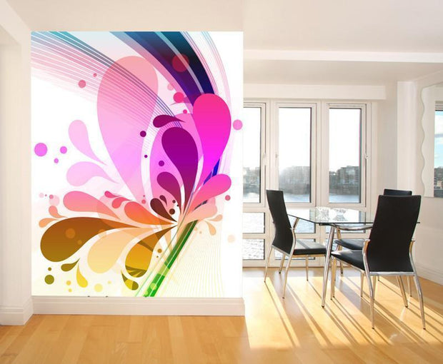 Colorful Splashes Mural-Abstract,Modern Graphics-Eazywallz