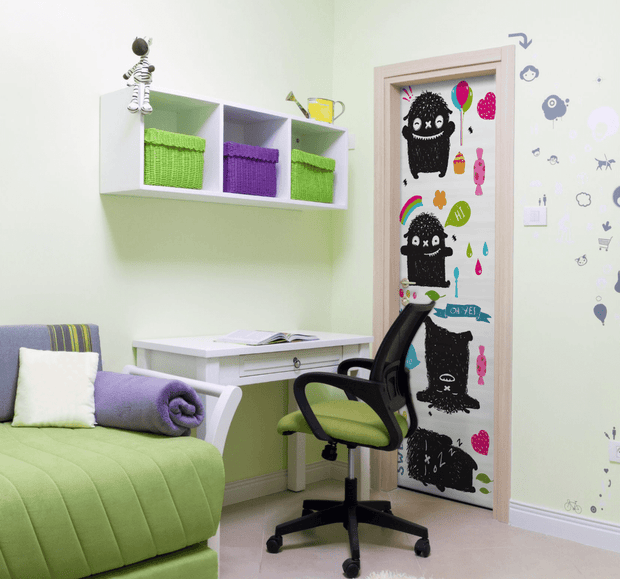 Cute Monster Door Mural-Kids' Stuff-Eazywallz