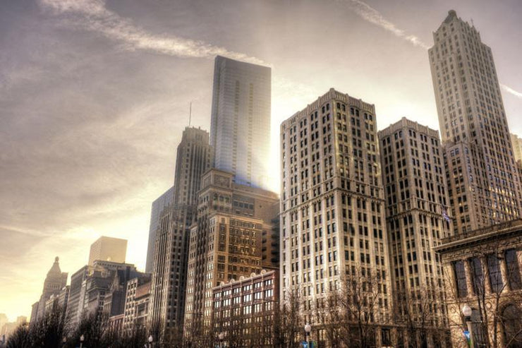 Downtown Chicago Wall Mural-Buildings & Landmarks,Cityscapes,Urban,Staff Favourite Murals-Eazywallz