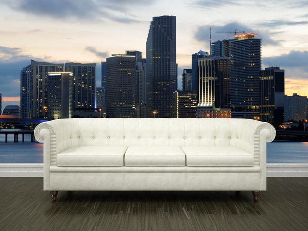 Downtown Miami at dusk Wall Mural-Cityscapes-Eazywallz