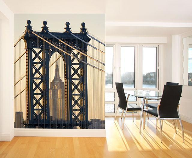 Empire State Building & Manhattan Bridge Wall Mural-Buildings & Landmarks,Cityscapes,Urban,Featured Category-Eazywallz