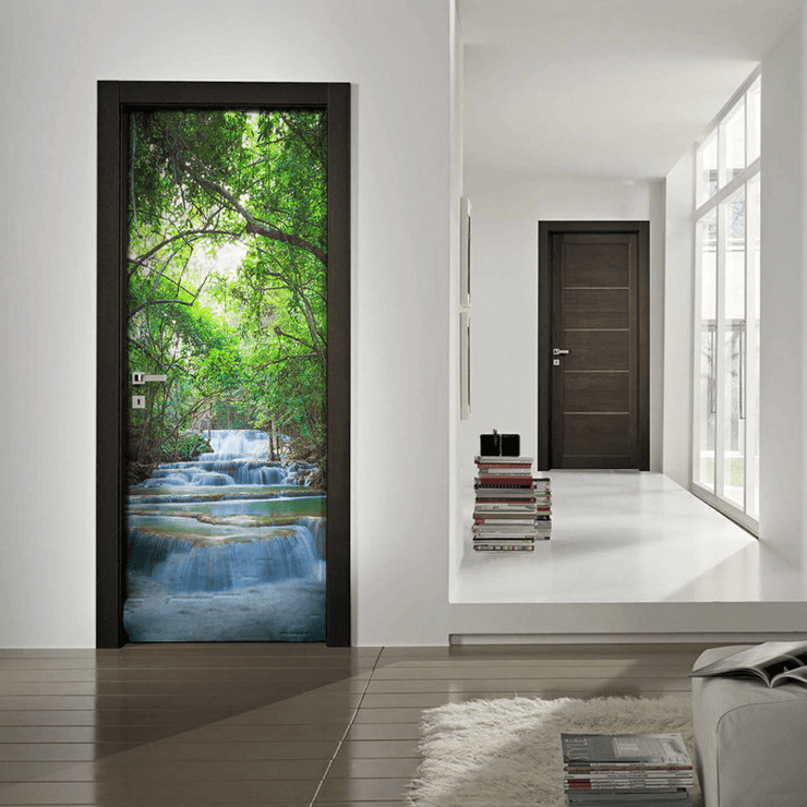 Erawan Waterfalls Door Mural-Zen,Landscapes & Nature-Eazywallz