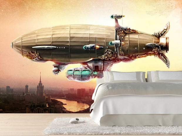 Fantasy airship over a city Wall Mural-Sci-Fi & Fantasy-Eazywallz