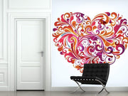 Floral Heart Wall Mural-Modern Graphics,Featured Category of the Month-Eazywallz