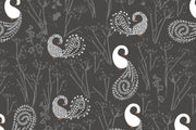 Floral pattern featuring white swan Wall Mural-Patterns,Featured Category of the Month-Eazywallz