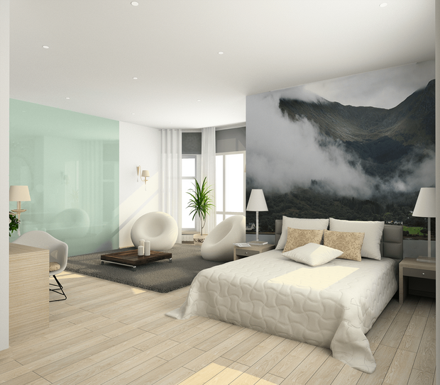 Foggy Mountains in Scotland Wall Mural-Landscapes & Nature,Panoramic-Eazywallz