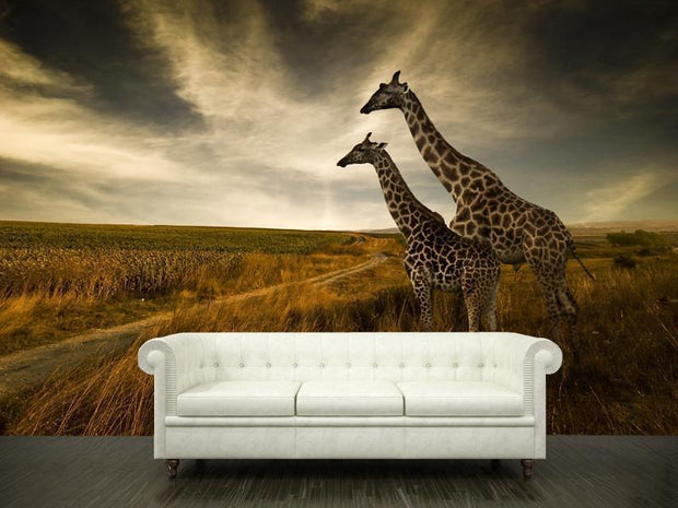 Giraffes and the landscape Wall Mural-Animals & Wildlife,Landscapes & Nature-Eazywallz