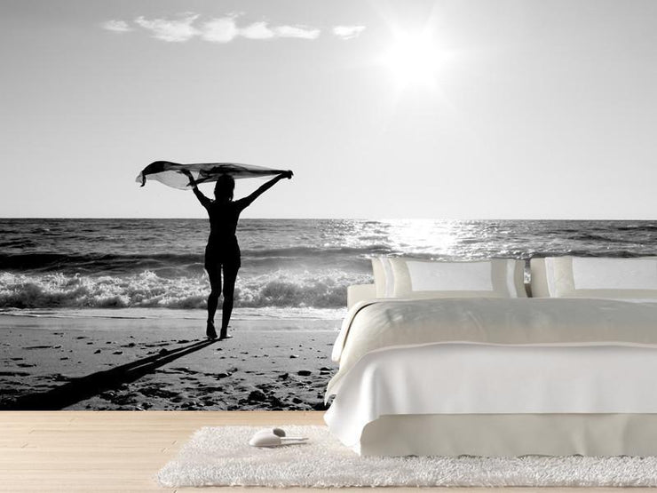 Girl on the Beach Wall Mural-Black & White,Landscapes & Nature,Tropical & Beach-Eazywallz