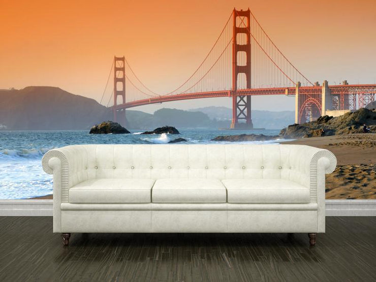 Golden Gate Bridge at sunset, USA Wall Mural-Buildings & Landmarks-Eazywallz