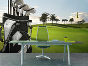Golf equipment on green Wall Mural-Sports-Eazywallz