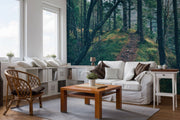 Green Forest Hill Wall Mural-Landscapes & Nature-Eazywallz