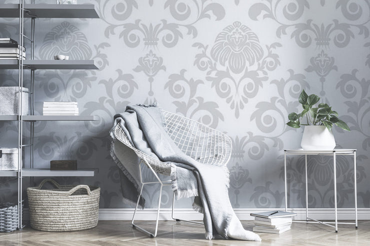Grey damask Wall Mural