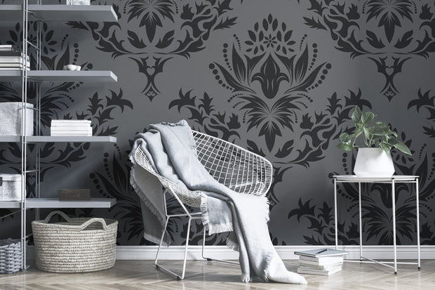 Grey royal damask Wall Mural