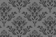Grey royal damask Wall Mural-Patterns-Eazywallz