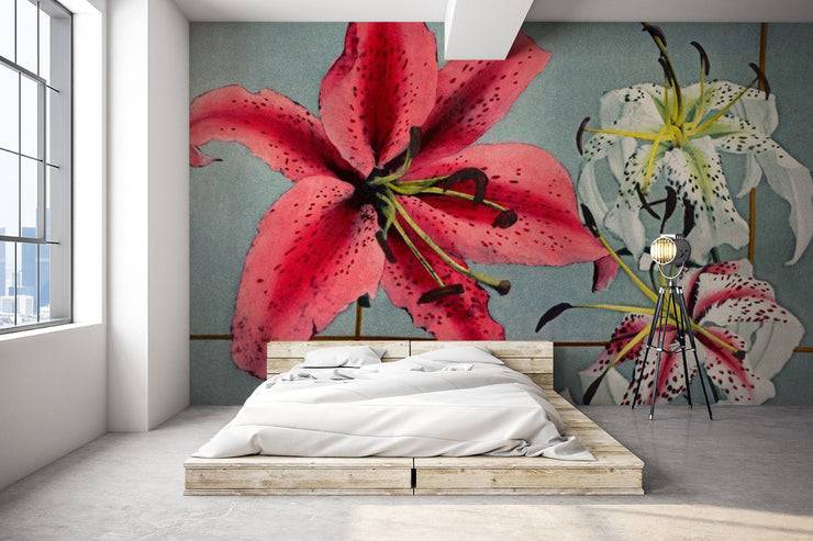 Hand Coloured Lily Wallpaper Mural