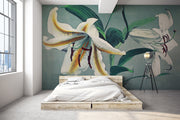 Hand Coloured White Lily Wall Mural