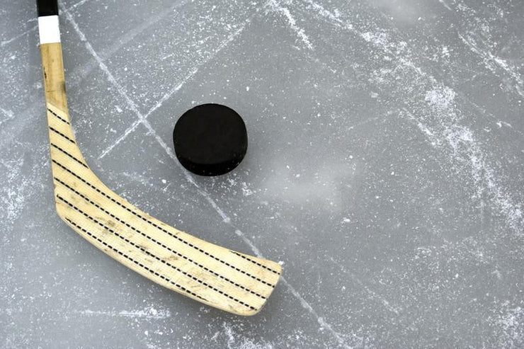 Hockey stick and puck on the ice Wall Mural-Sports-Eazywallz
