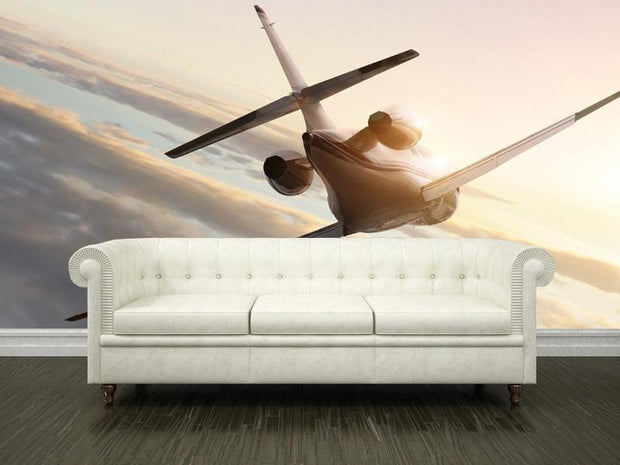 Jet plane on sunset Wall Mural-Transportation-Eazywallz