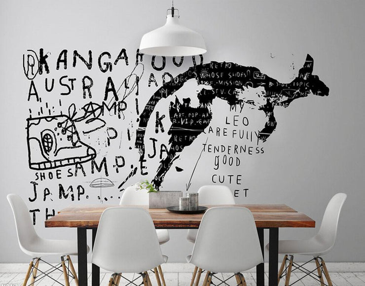 Kangaroo Graffiti Wall Mural-Urban,Modern Graphics-Eazywallz