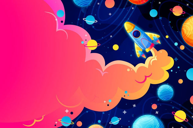 Kids Spaceship Mural Wallpaper-Kids' Stuff-Eazywallz