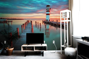 Lighthouse under sunset Wall Mural-Buildings & Landmarks,Landscapes & Nature-Eazywallz