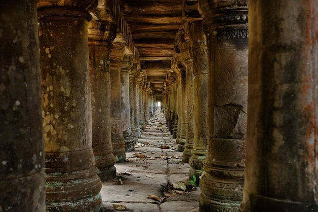 Long corridor in Angkor temple, Cambodia Wall Mural-Buildings & Landmarks-Eazywallz