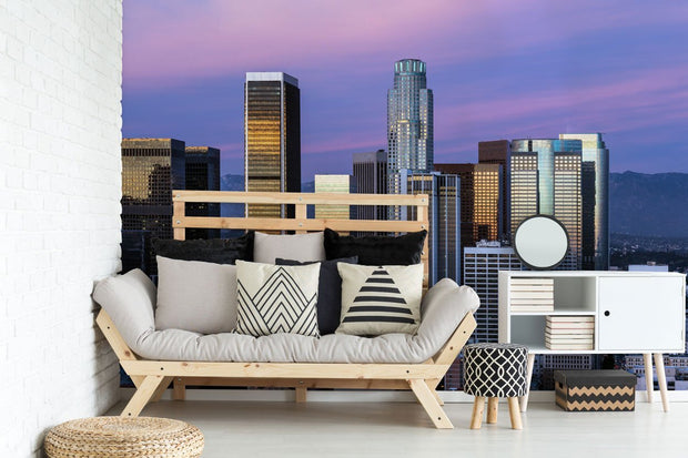 Los Angeles Skyline Mural Wallpaper-Cityscapes-Eazywallz