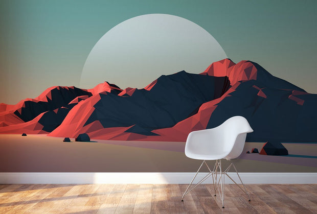 Low Poly Geometric Landscape Wall Mural-Landscapes & Nature-Eazywallz