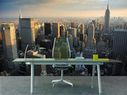 Manhattan skyscrapers at sunset Wall Mural-Cityscapes,Featured Category-Eazywallz