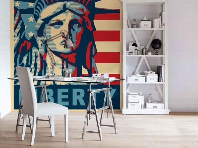 Miss Liberty Wall Mural-Buildings & Landmarks,Vintage,Modern Graphics,Words,Featured Category-Eazywallz