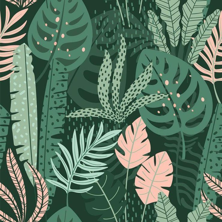 Mixed Jungle Leaves Removable Wallpaper-wallpaper-Eazywallz
