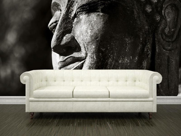 Monument of buddha Wall Mural-Black & White,Zen-Eazywallz