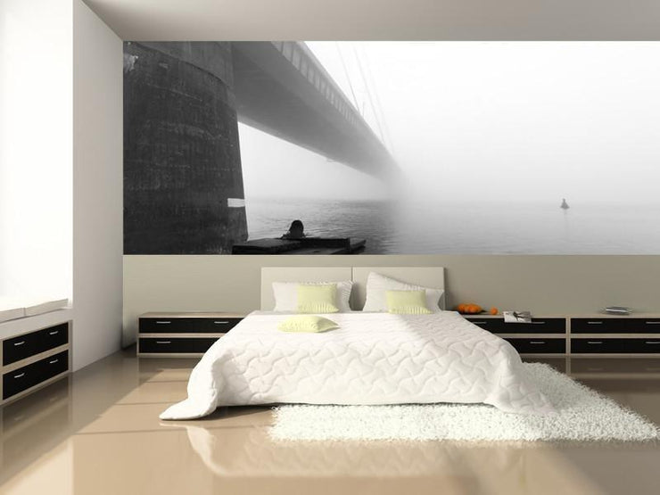 Moscow Bridge in Fog, Kiev Wall Mural-Black & White,Buildings & Landmarks,Panoramic-Eazywallz