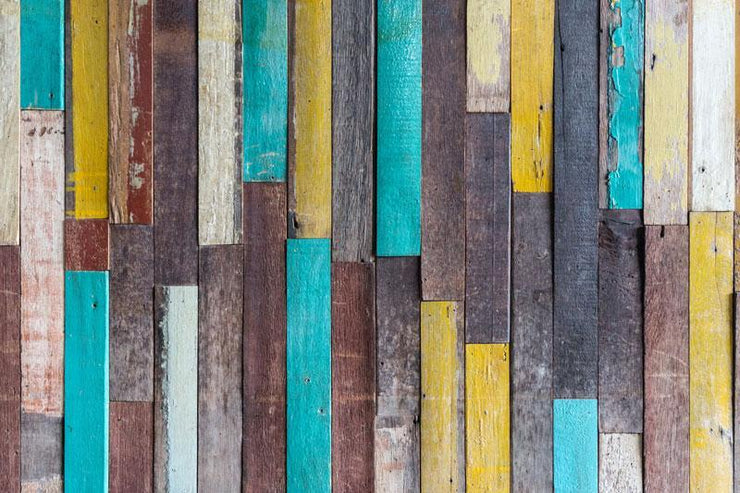 Multicoloured Planks Wallpaper Mural-Patterns-Eazywallz