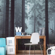 Mysterious Forest in Fog Wall Mural-Landscapes & Nature-Eazywallz