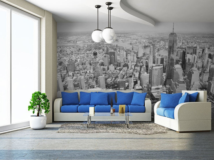 New York City Black and White Skyline Wall Mural-Cityscapes-Eazywallz