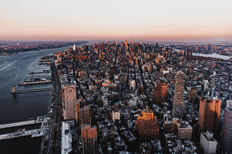 New York Skyline at Dawn Wall Mural-Cityscapes,Featured Category-Eazywallz