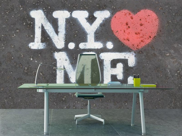 N.Y. loves me Wall Mural-Buildings & Landmarks,Urban,Textures,Words-Eazywallz