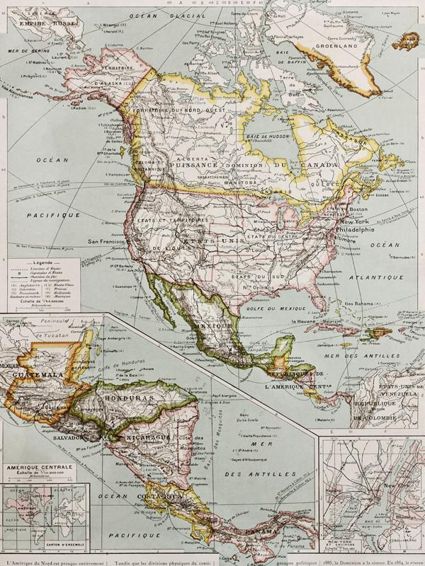 Old Northern and Central America Map Wall Mural-Maps-Eazywallz