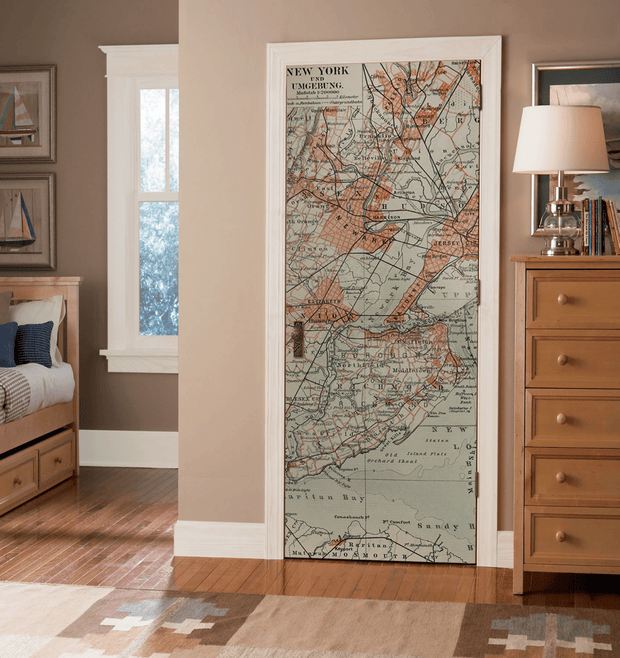 Old NYC Map Door Mural-Urban-Eazywallz