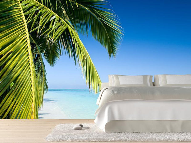 Palm tree on a tropical beach Wall Mural-Tropical & Beach-Eazywallz