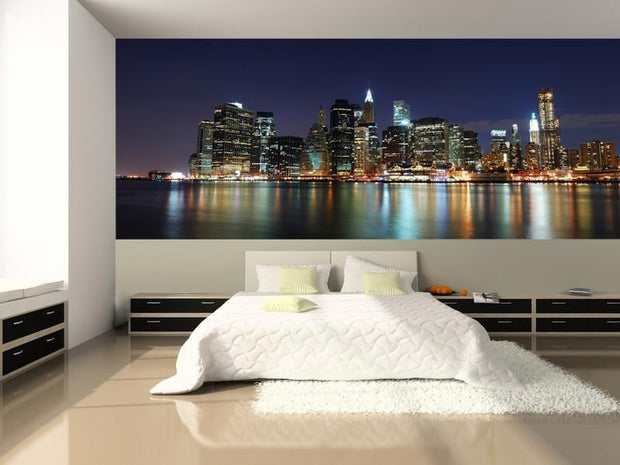 Panorama of Illuminated New York City Wall Mural-Cityscapes,Panoramic,Featured Category-Eazywallz