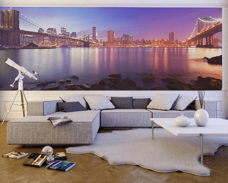 Panoramic View of Manhattan at Dusk Wall Mural-Black & White,Buildings & Landmarks,Cityscapes,Panoramic,Staff Favourite Murals-Eazywallz