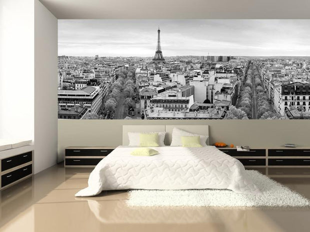 Panoramic View of Paris Wall Mural-Black & White,Buildings & Landmarks,Cityscapes,Panoramic,Staff Favourite Murals-Eazywallz