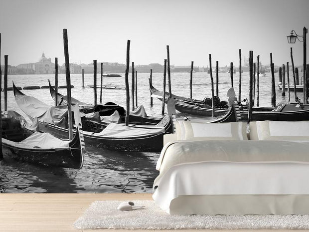 Parked Gondolas in Venice, Italy Wall Mural-Black & White,Buildings & Landmarks,Transportation-Eazywallz