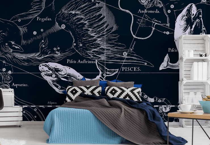 Pisces Constellation Map in Navy Wall Mural-astrology-Eazywallz