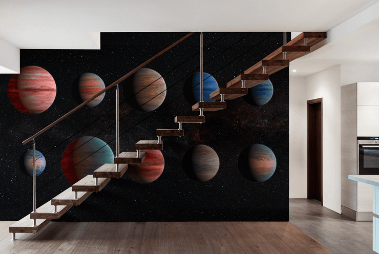 Planets in Space Wall Mural-Space-Eazywallz