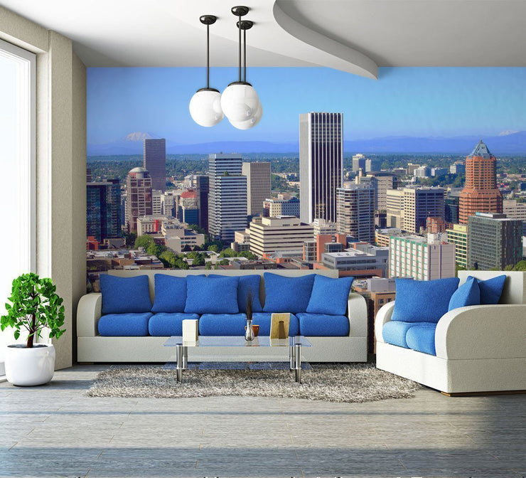 Portland Skyline Wall Mural-Cityscapes-Eazywallz