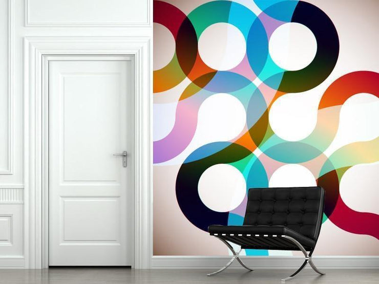 Rainbow Circles Mural-Abstract,Modern Graphics-Eazywallz